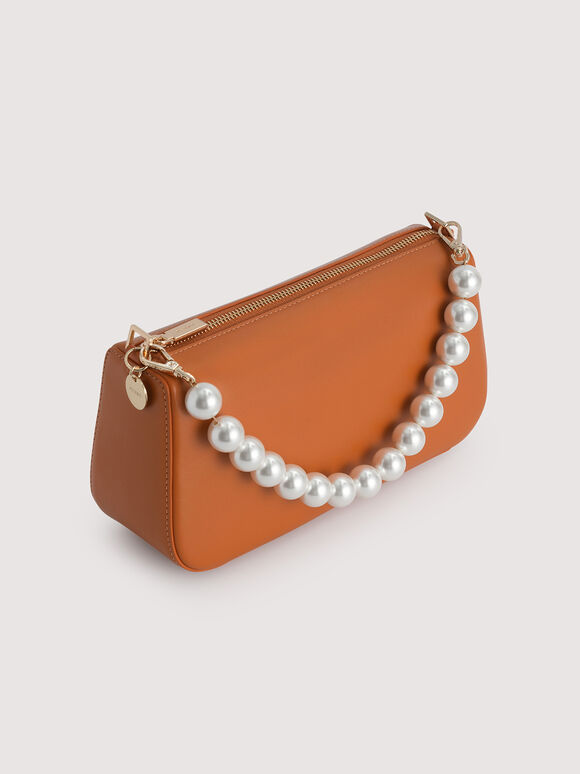 Leather Top Handle Bag with Pearl Detailing, Orange, hi-res
