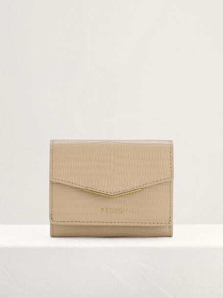 Lizard-Effect Leather Wallet, Beige, hi-res