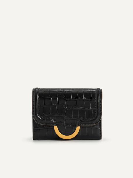 Croc-Effect Bi-Fold Wallet, Black, hi-res