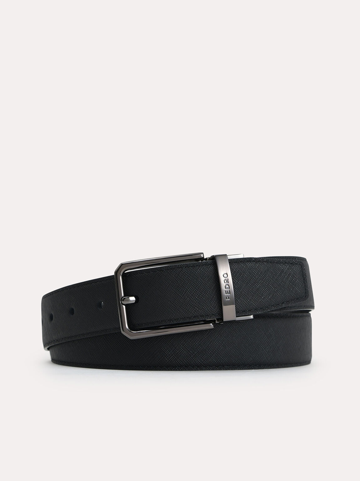 Textured Leather Reversible Pin Belt, Black, hi-res
