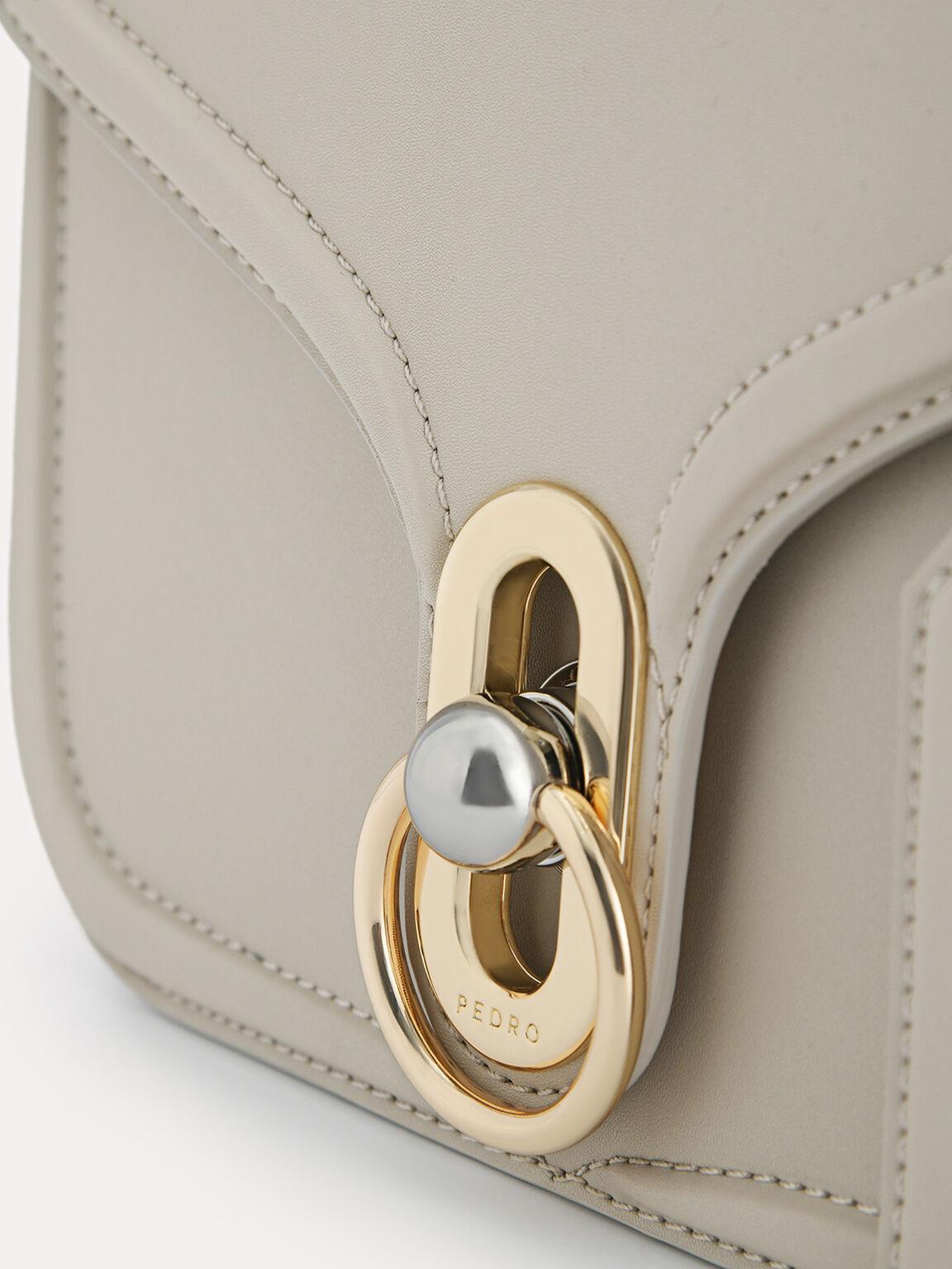 Leather Shoulder Bag, Taupe, hi-res