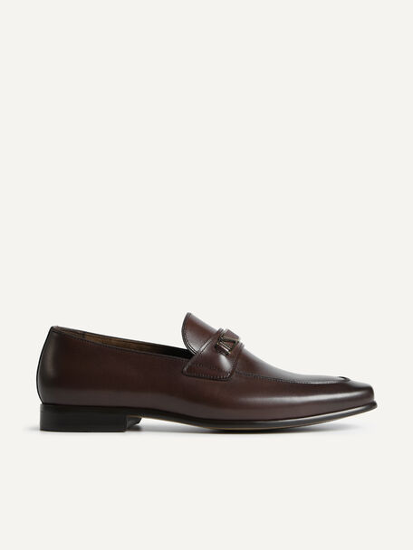 Leather Loafers with Metal Bit, Brown, hi-res