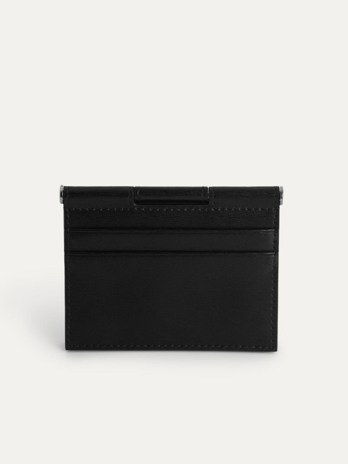 Textured Leather Flat Card Holder, Black, hi-res