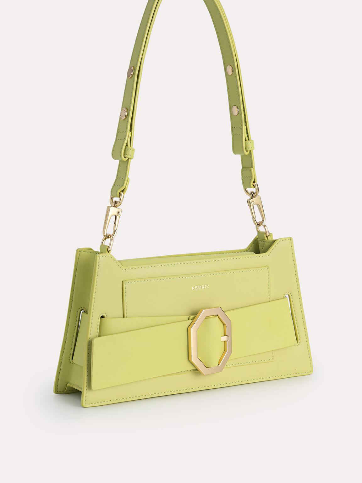 Octagon Buckled Leather Shoulder Bag, Light Green, hi-res