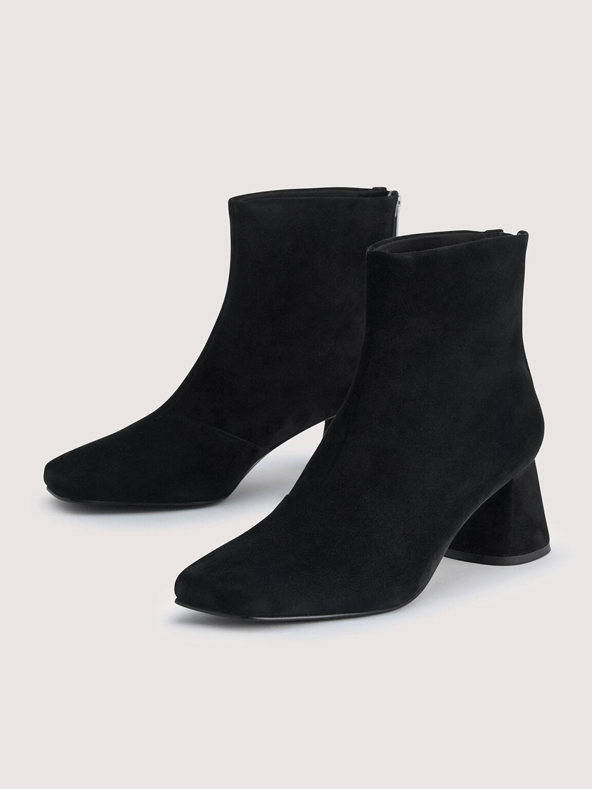 Suede Ankle Boots, Black, hi-res