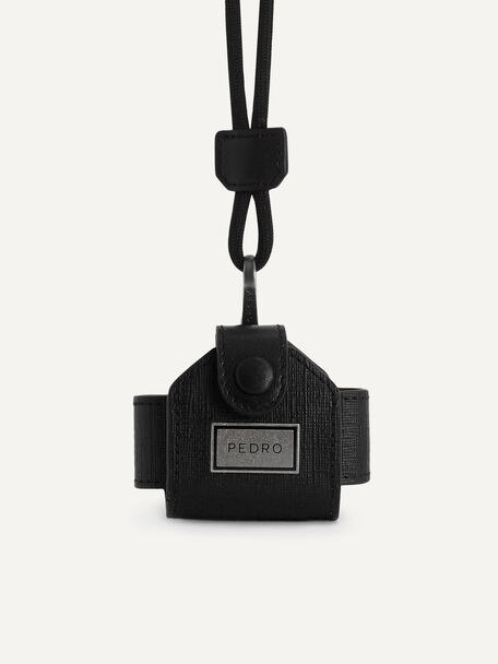 Leather Airpods Case, Black, hi-res