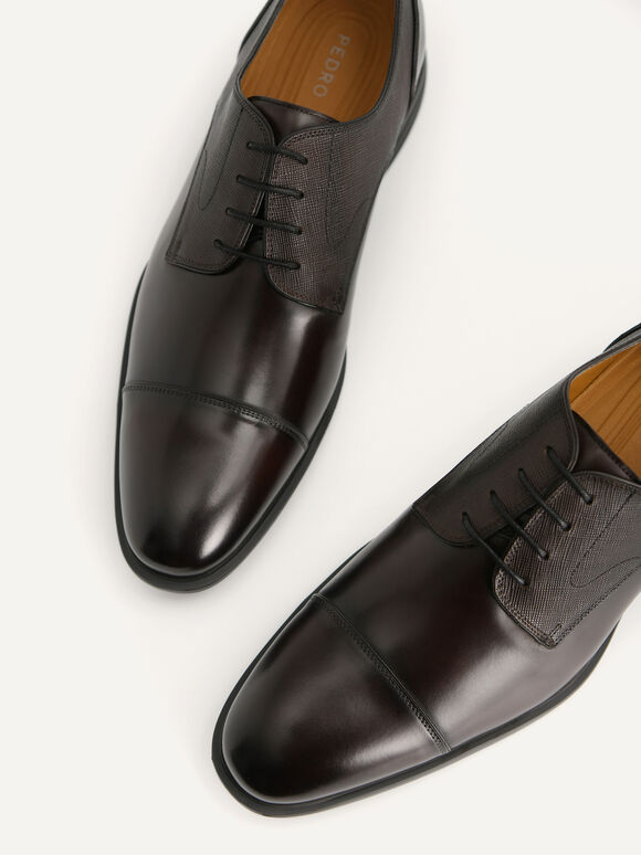 Textured Leather Derby Shoes, Dark Brown, hi-res