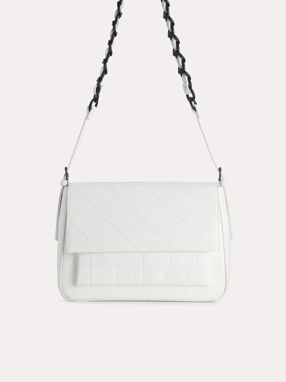 Slouchy Shoulder Bag, Chalk, hi-res