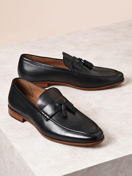 Leather Tassel Loafers, Black, hi-res