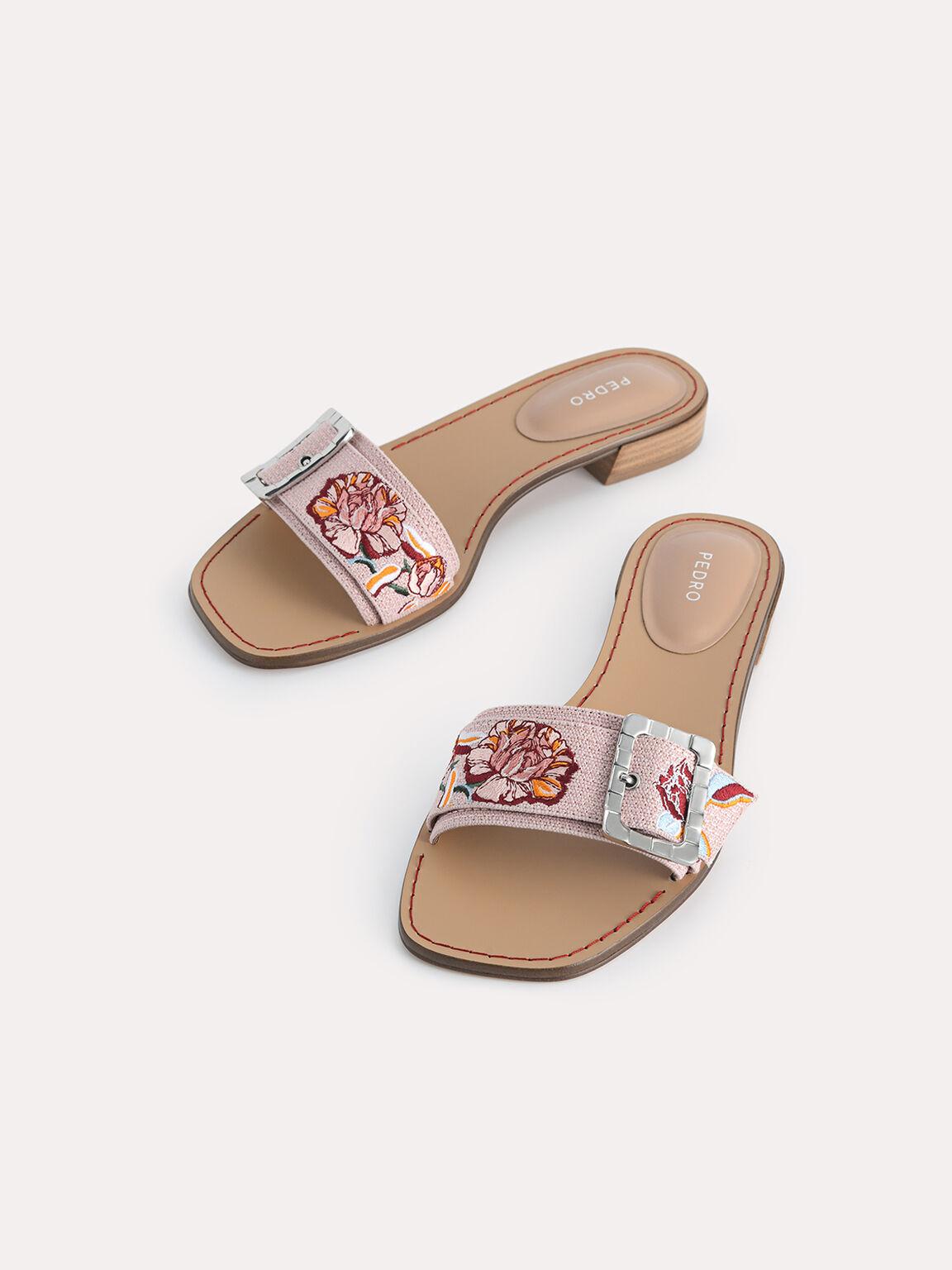 Floral Bouquet Buckle Sandals, Multi, hi-res