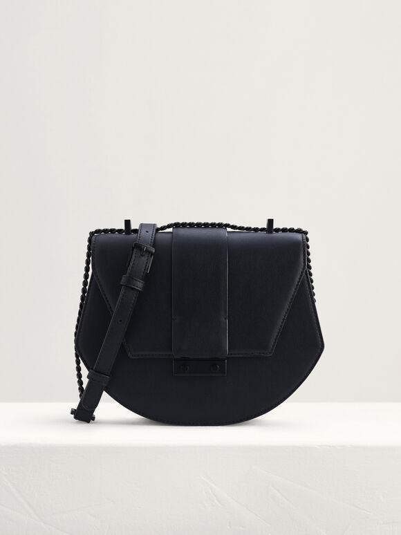 Front Flap Shoulder Bag, Black, hi-res