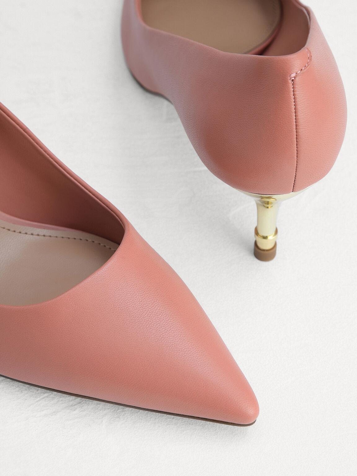 Leather Heels, Coral, hi-res