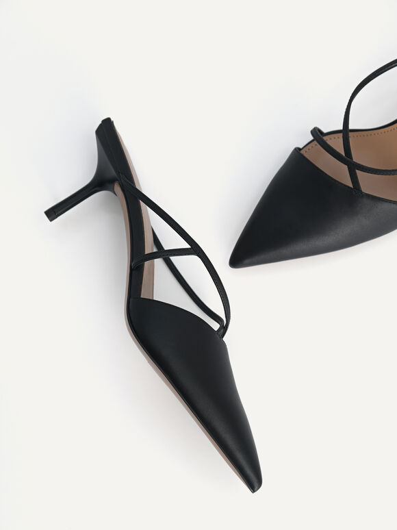 Pointed Toe Leather Heels, Black, hi-res