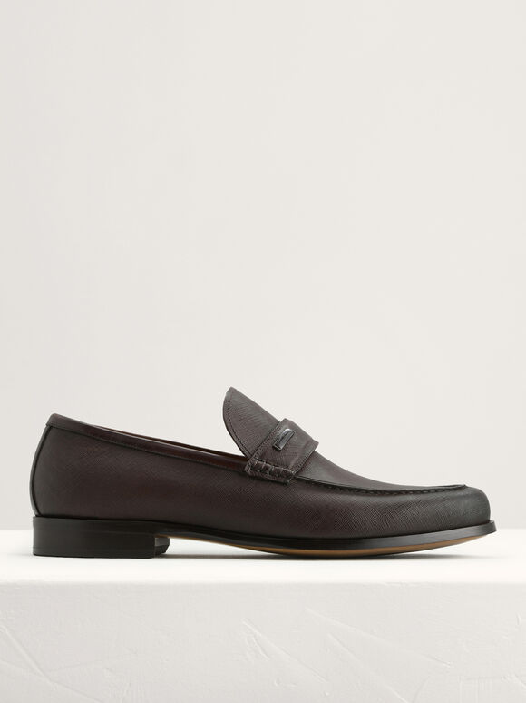 Textured Leather Loafers, Dark Brown, hi-res