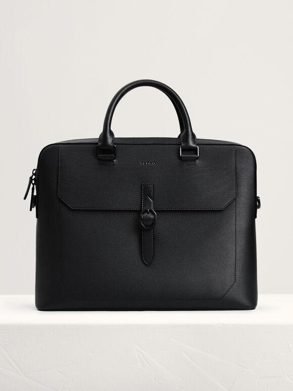 Leather Buckle Briefcase, Black, hi-res