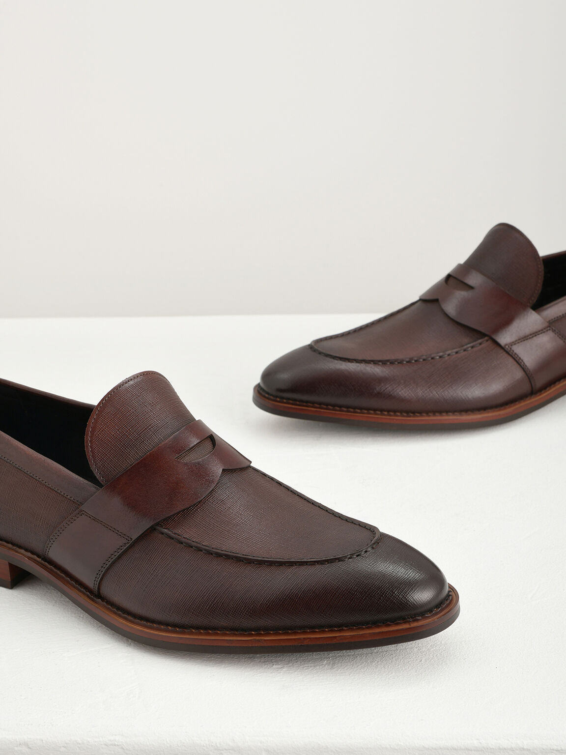 Textured Penny Loafers, Light Brown, hi-res