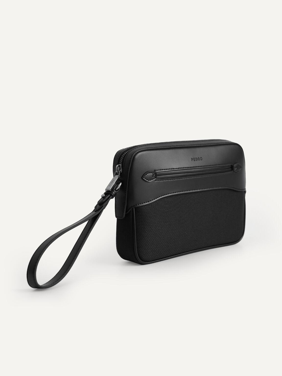 Leather Clutch, Black, hi-res
