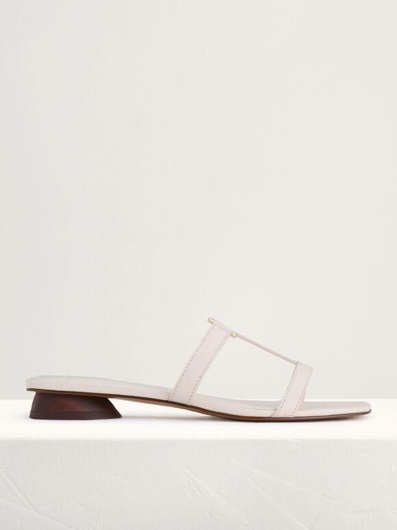 Square-Toed Sandals, Cream, hi-res