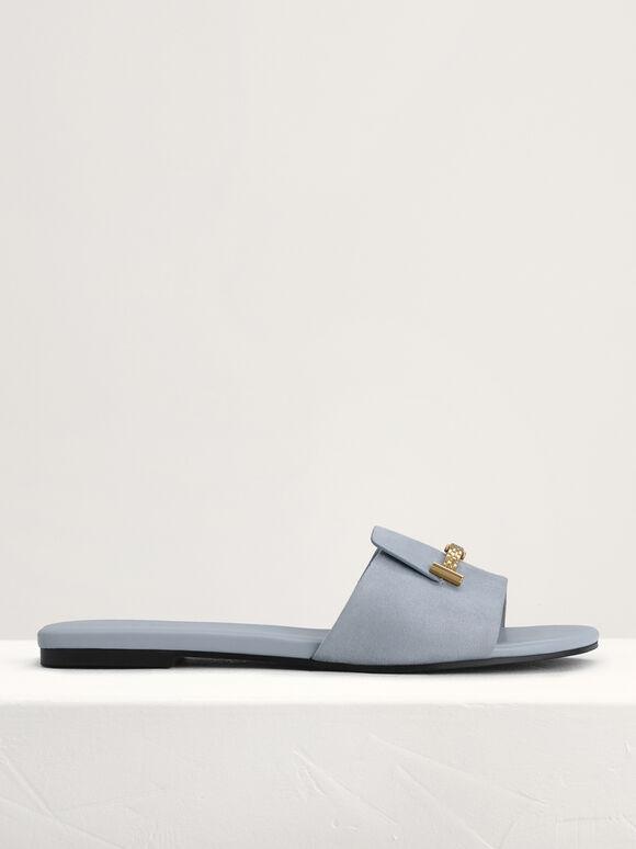 Plaque-Embellished Slides, Light Blue, hi-res