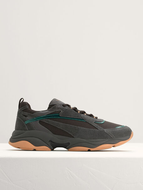 Chunky Suede and Mesh Sneakers, Dark Grey, hi-res