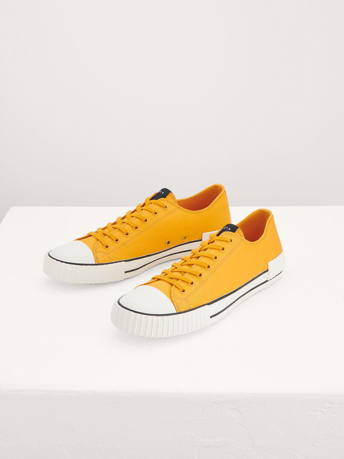 Casual Canvas Sneakers, Mustard, hi-res