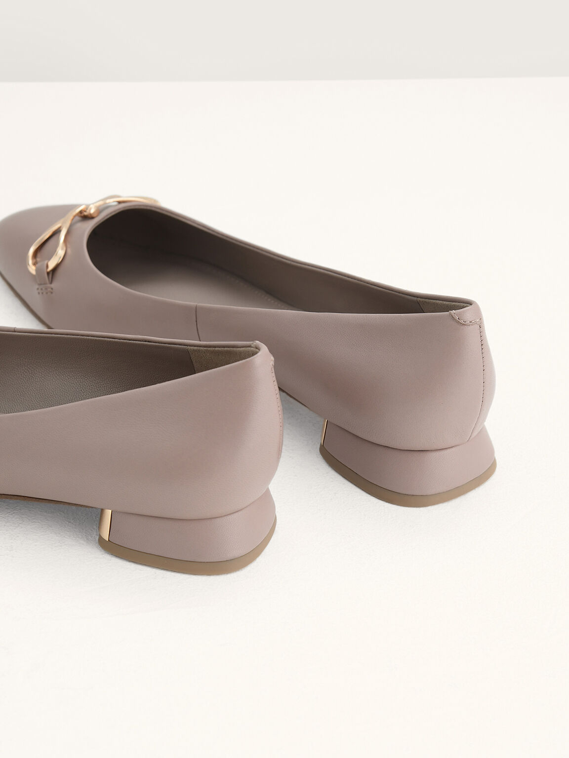 Leather Ballerina Flats, Taupe, hi-res