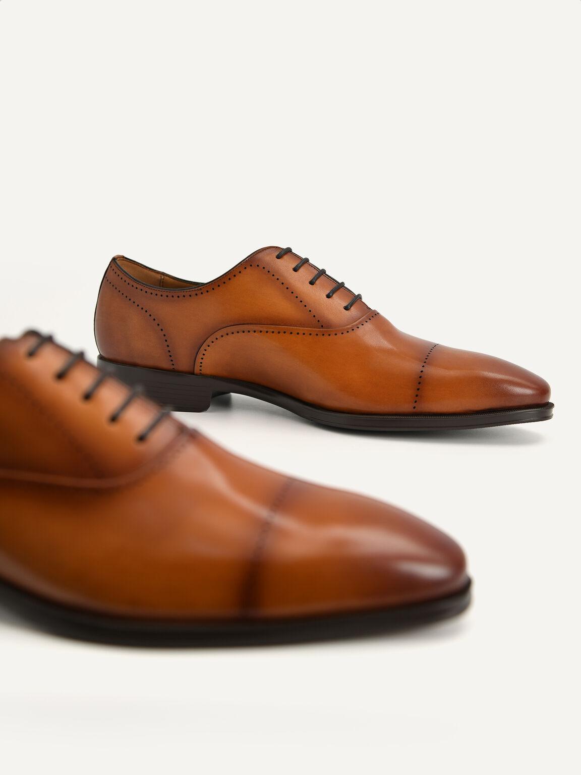 Leather Oxford Shoes, Cognac, hi-res