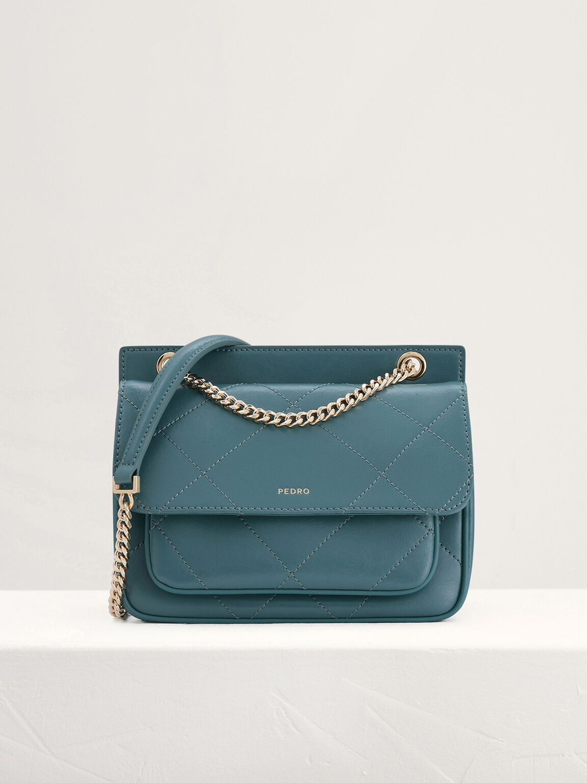 Leather Shoulder Bag, Teal, hi-res