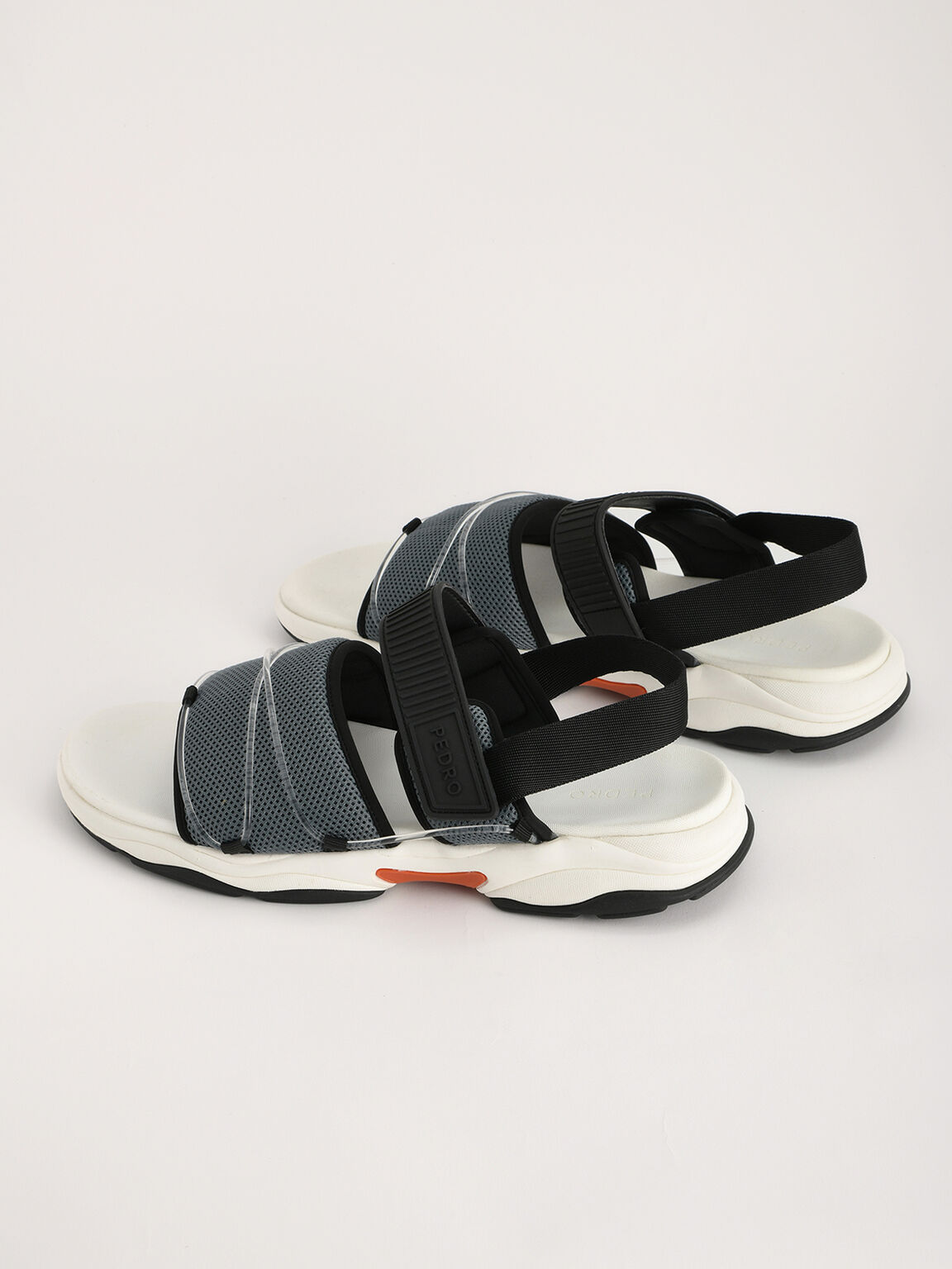 Slingback Velcro Sandals, Slate Blue, hi-res