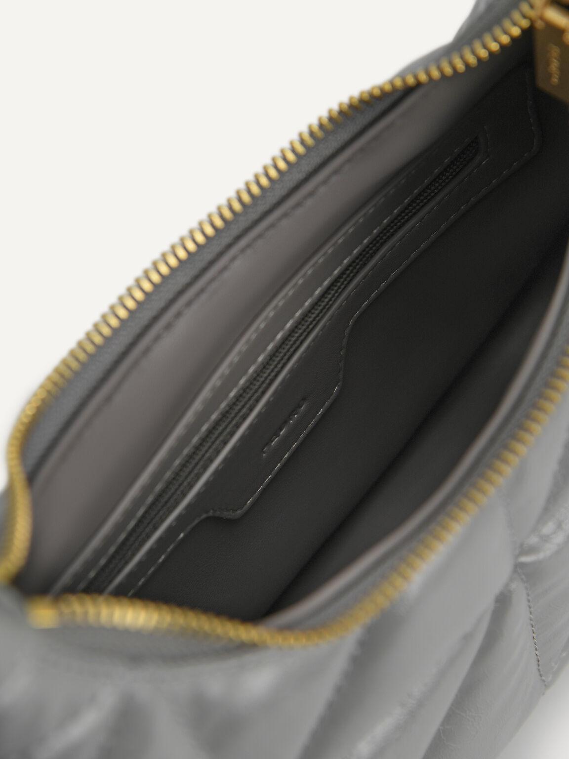 Crinkled Chain Shoulder Bag, Grey, hi-res