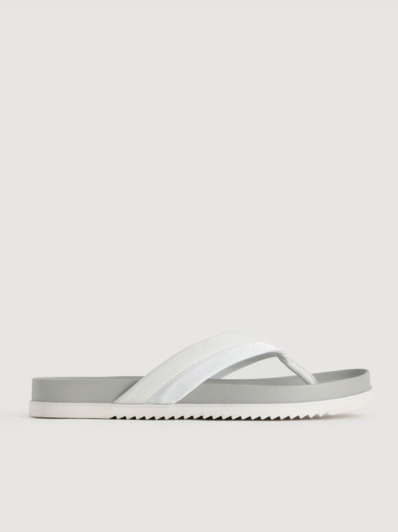 Double Banded Thong Sandals, White, hi-res