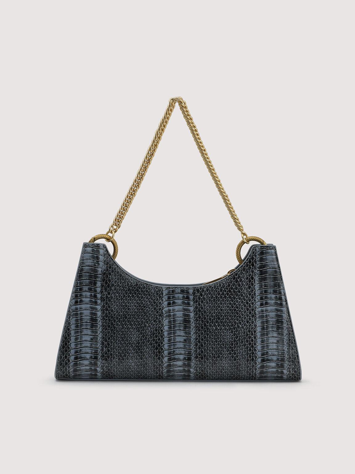 Snake-Effect Shoulder Bag, Slate Blue, hi-res