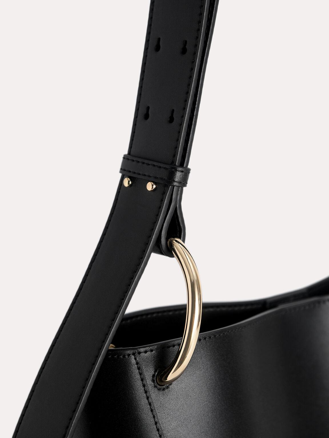 Leather Hobo Tote, Black, hi-res
