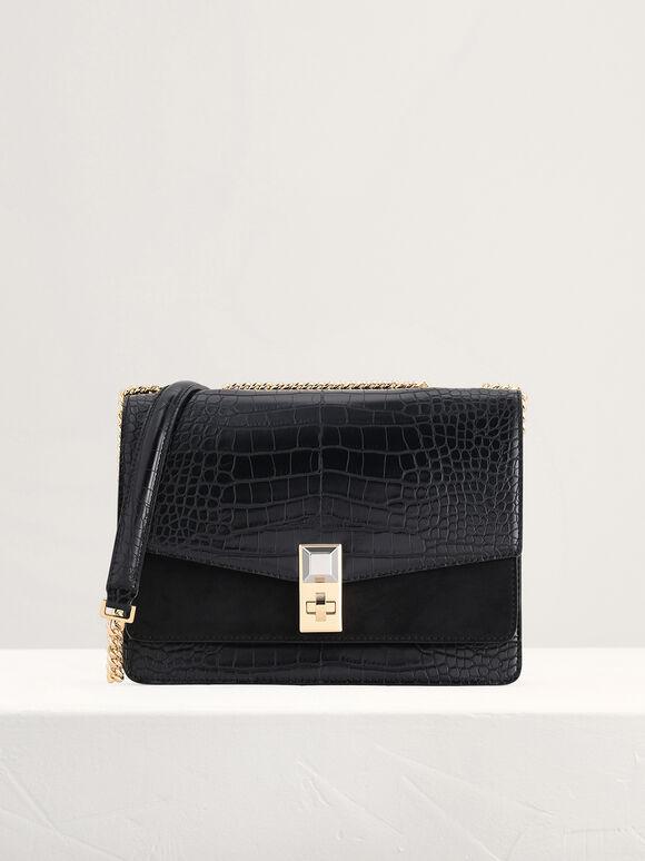 Croc-Effect Shoulder Bag, Black, hi-res
