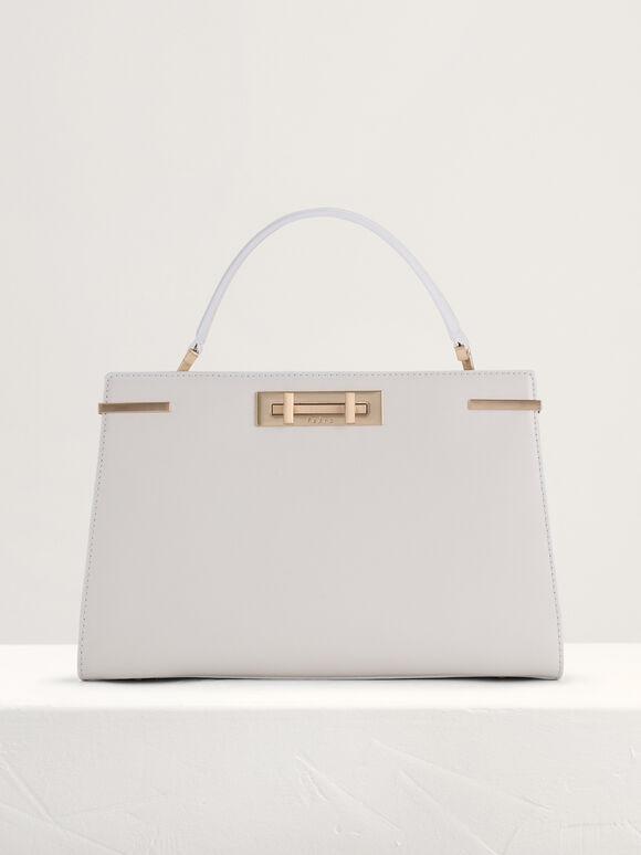 Top Handle Leather Bag, Chalk, hi-res