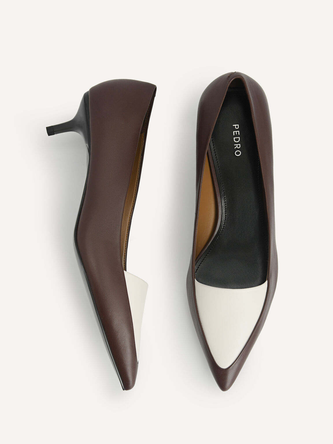 Leather Pointed Toe Pumps, Brown, hi-res