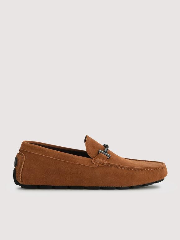 Calf Suede Loafers, Cognac, hi-res