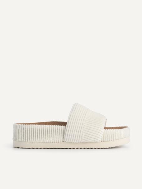 Corduroy Flatform Sandals, Chalk, hi-res