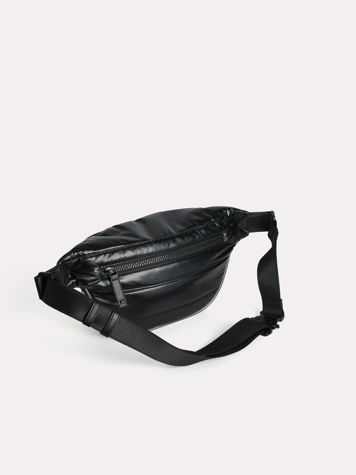 Quilted Sling Pouch, Black, hi-res