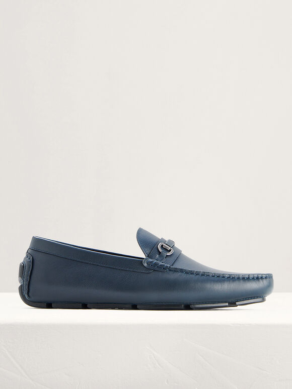 Horsebit Leather Moccasins, Navy, hi-res