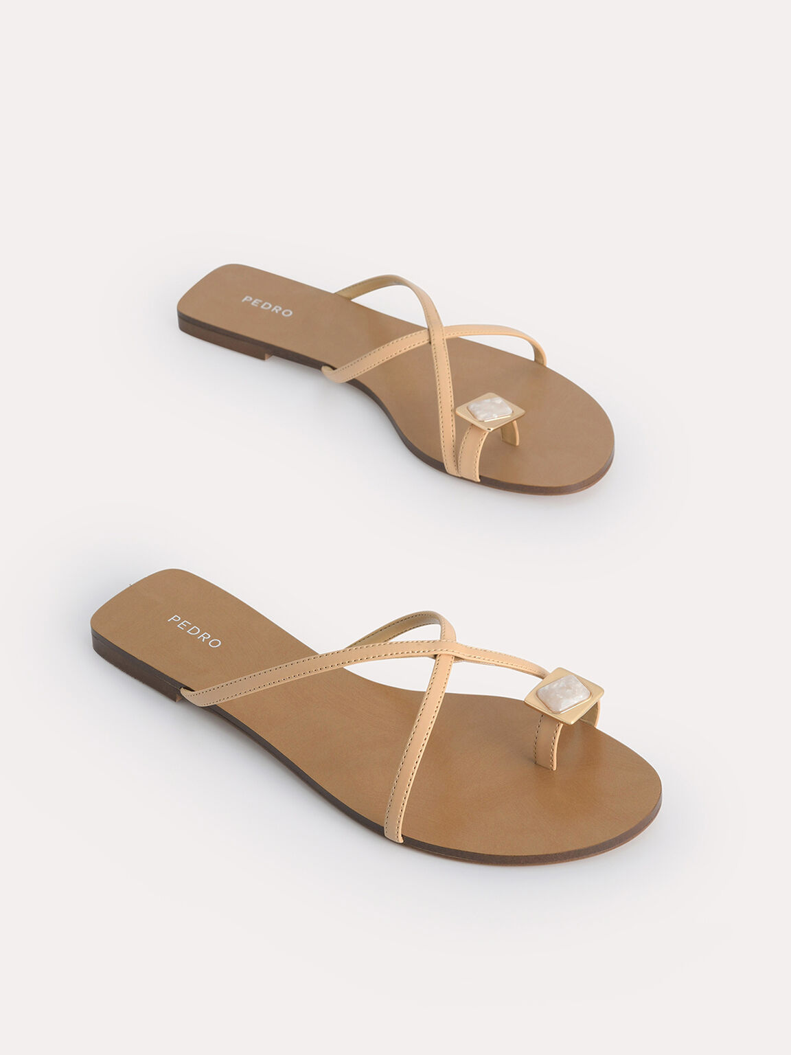 Marbled Toe Loop Sandals, Sand, hi-res