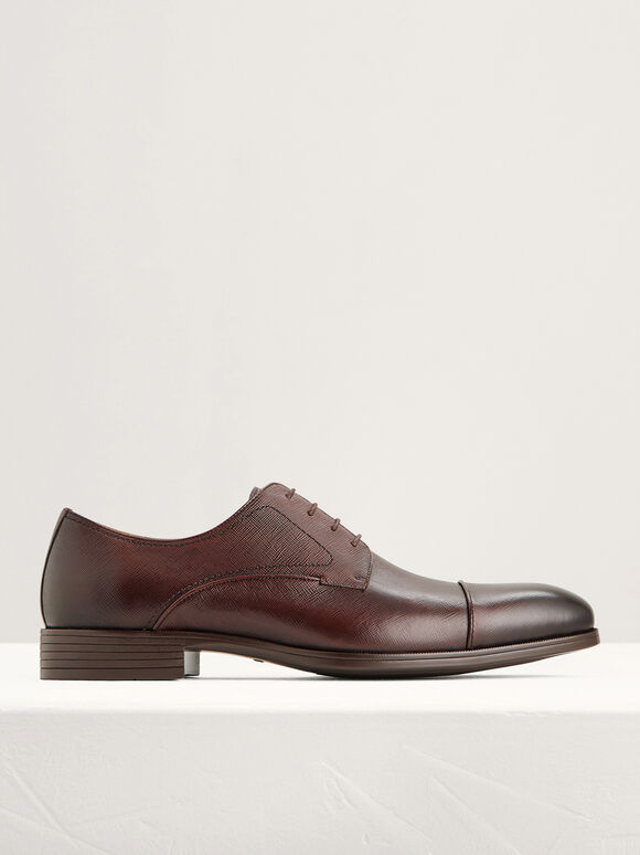 Textured Leather Cap Toe Derby Shoes, Dark Brown, hi-res