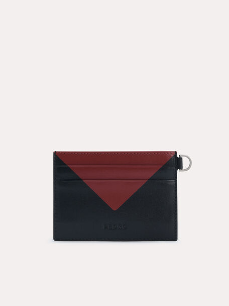 Three-Toned Leather Cardholder, Black, hi-res