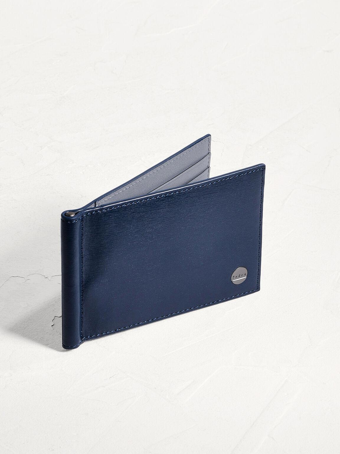 Leather Bi-Fold Money Clip Card Holder, Navy, hi-res