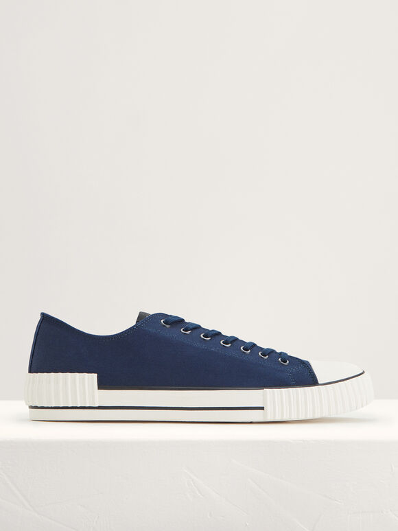 Casual Canvas Sneakers, Navy, hi-res