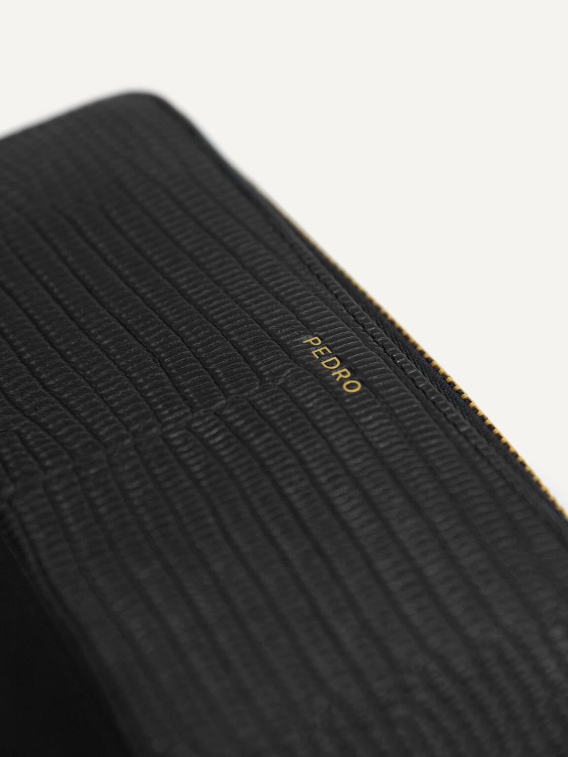Lizard-Effect Leather Wallet, Black, hi-res