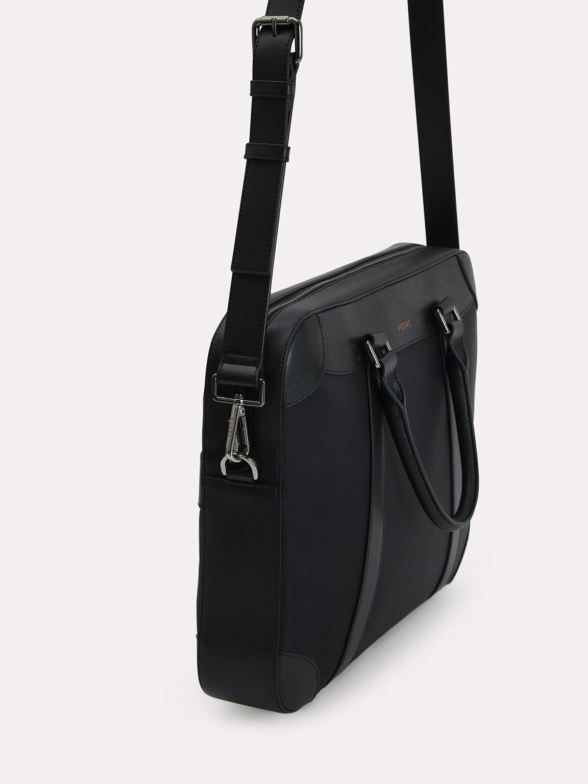 Textured Briefcase, Black, hi-res