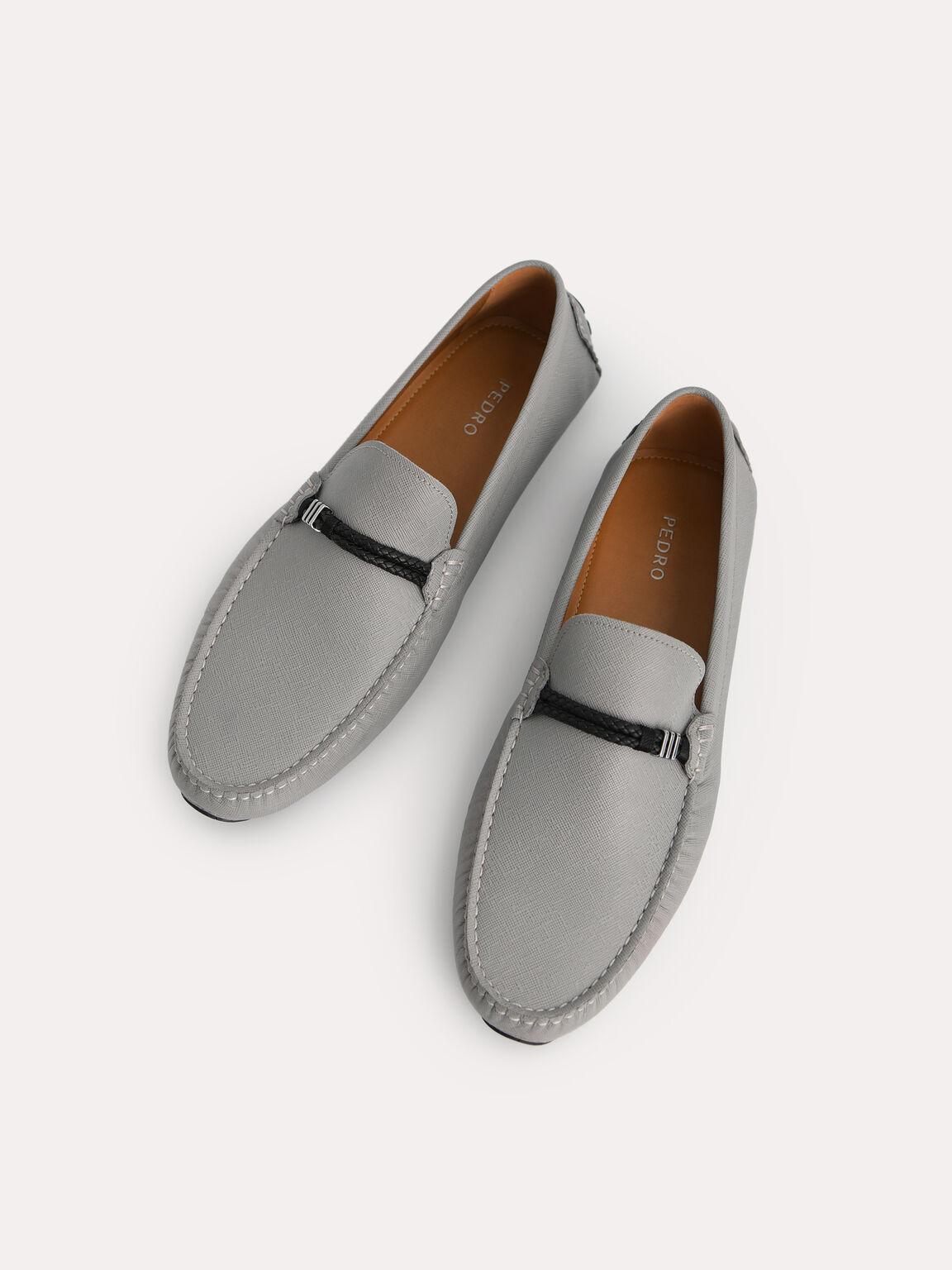 繩子細節皮革莫卡辛鞋, 灰色, hi-res