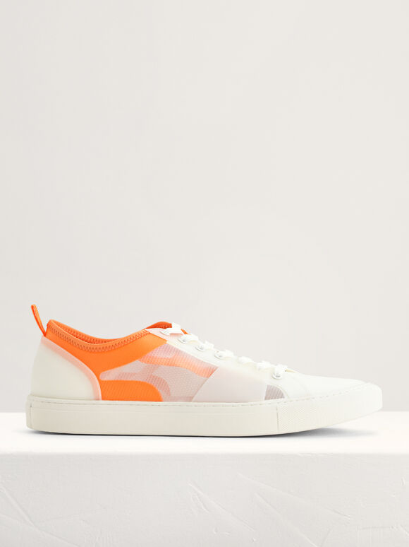 Mesh Court Sneakers, White, hi-res