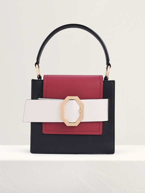 Buckled Top Handle Structured Bag, Multi, hi-res